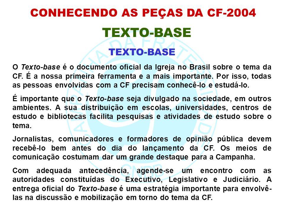 CONHECENDO AS PEÇAS DA CF-2004 TEXTO-BASE O Texto-base é o documento oficial da Igreja no Brasil sobre o tema da CF. É a nossa primeira ferramenta e a