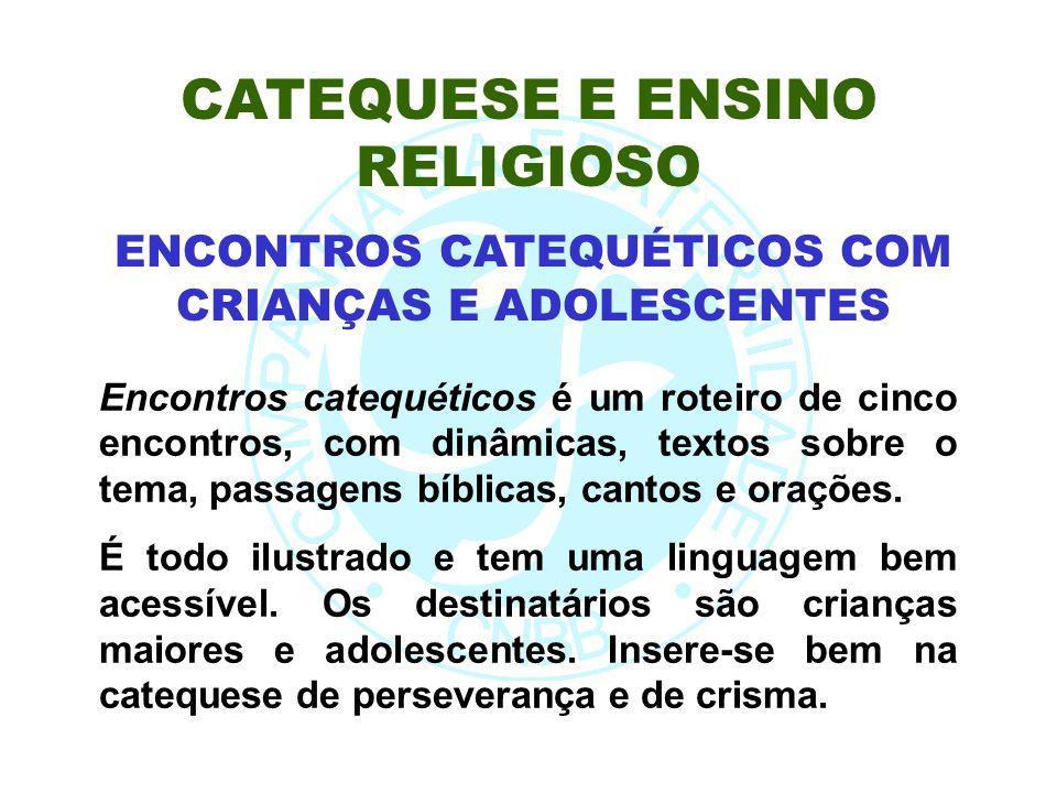 Encontros catequéticos é um roteiro de cinco encontros, com dinâmicas, textos sobre o tema, passagens bíblicas, cantos e orações. É todo ilustrado e t