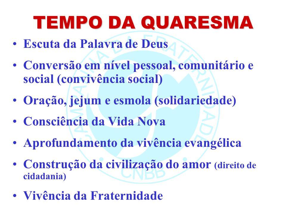 TEMPO DA QUARESMA Escuta da Palavra de Deus Conversão em nível pessoal, comunitário e social (convivência social) Oração, jejum e esmola (solidariedad