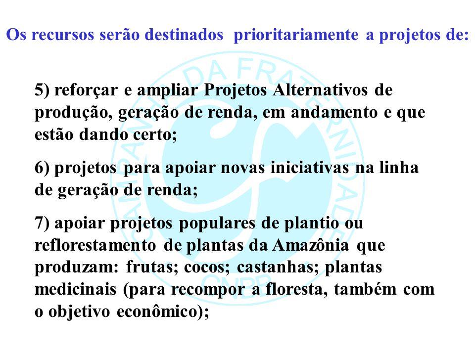 Os recursos serão destinados prioritariamente a projetos de: 5) reforçar e ampliar Projetos Alternativos de produção, geração de renda, em andamento e