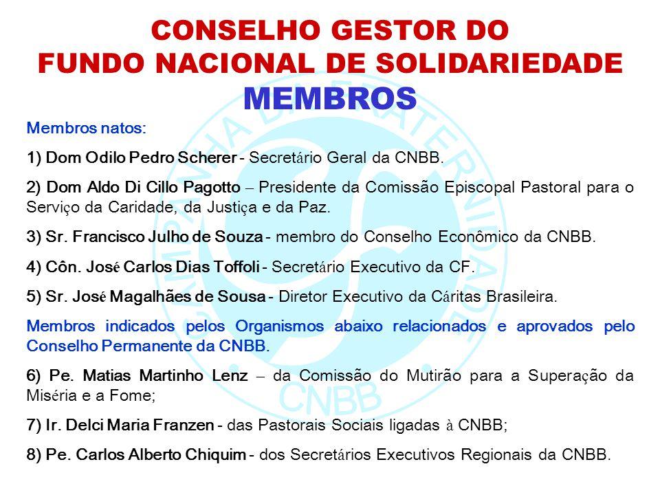 CONSELHO GESTOR DO FUNDO NACIONAL DE SOLIDARIEDADE MEMBROS Membros natos: 1) Dom Odilo Pedro Scherer - Secret á rio Geral da CNBB. 2) Dom Aldo Di Cill