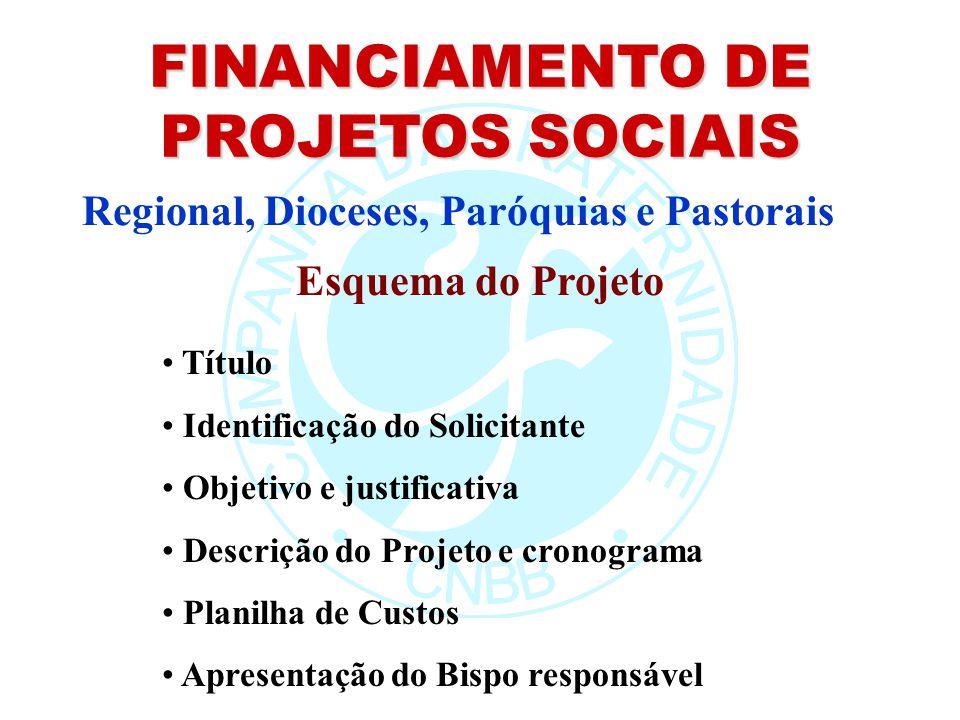 FINANCIAMENTO DE PROJETOS SOCIAIS Regional, Dioceses, Paróquias e Pastorais Esquema do Projeto Título Identificação do Solicitante Objetivo e justific