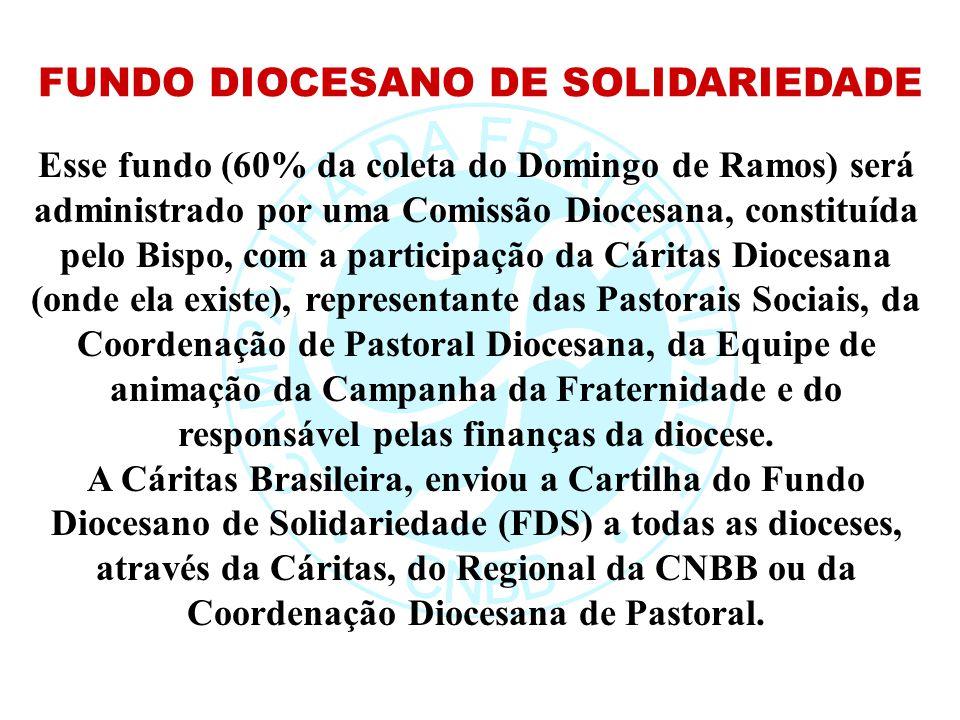 Esse fundo (60% da coleta do Domingo de Ramos) será administrado por uma Comissão Diocesana, constituída pelo Bispo, com a participação da Cáritas Dio