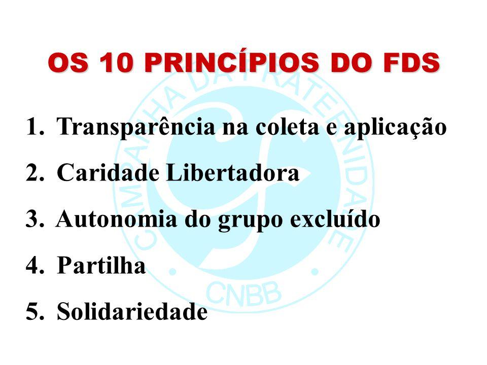 OS 10 PRINCÍPIOS DO FDS 1. Transparência na coleta e aplicação 2. Caridade Libertadora 3. Autonomia do grupo excluído 4. Partilha 5. Solidariedade