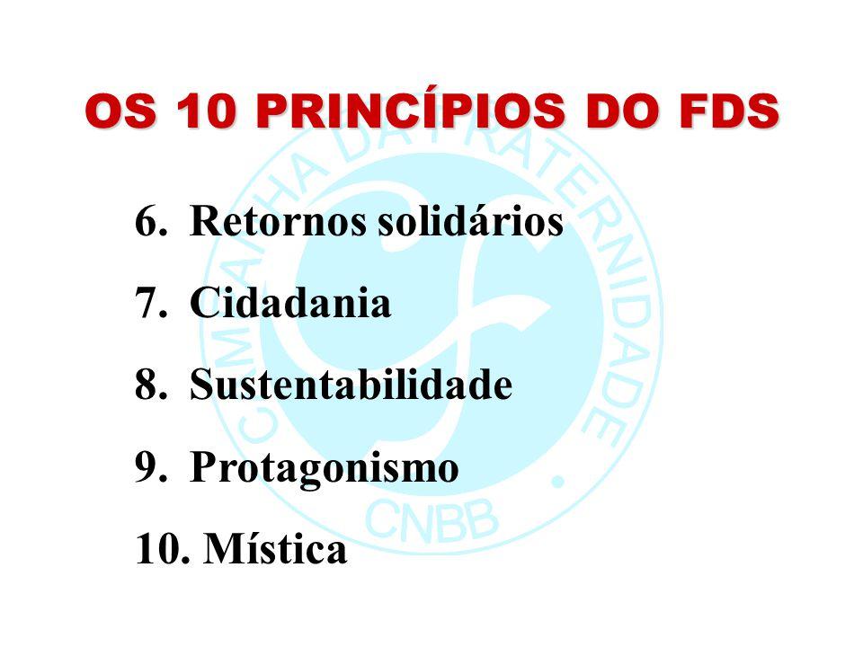 OS 10 PRINCÍPIOS DO FDS 6. Retornos solidários 7. Cidadania 8. Sustentabilidade 9. Protagonismo 10. Mística