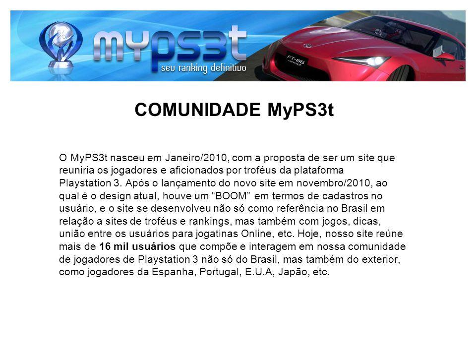 COMUNIDADE MyPS3t O MyPS3t nasceu em Janeiro/2010, com a proposta de ser um site que reuniria os jogadores e aficionados por troféus da plataforma Pla