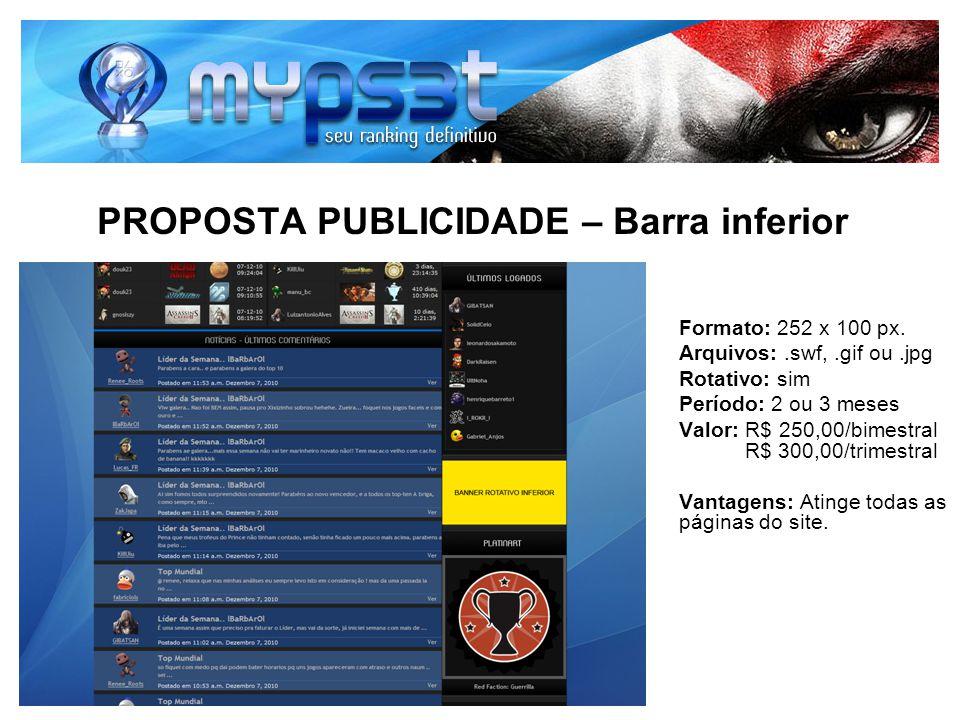 PROPOSTA PUBLICIDADE – Barra inferior Formato: 252 x 100 px. Arquivos:.swf,.gif ou.jpg Rotativo: sim Período: 2 ou 3 meses Valor: R$ 250,00/bimestral