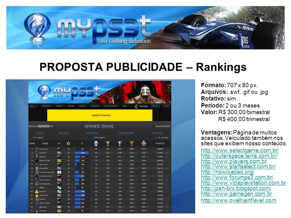 PROPOSTA PUBLICIDADE – Rankings Formato: 707 x 80 px. Arquivos:.swf,.gif ou.jpg Rotativo: sim Período: 2 ou 3 meses Valor: R$ 300,00/bimestral R$ 400,