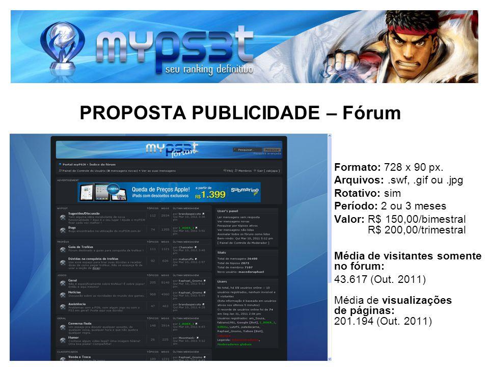 PROPOSTA PUBLICIDADE – Fórum Formato: 728 x 90 px. Arquivos:.swf,.gif ou.jpg Rotativo: sim Período: 2 ou 3 meses Valor: R$ 150,00/bimestral R$ 200,00/