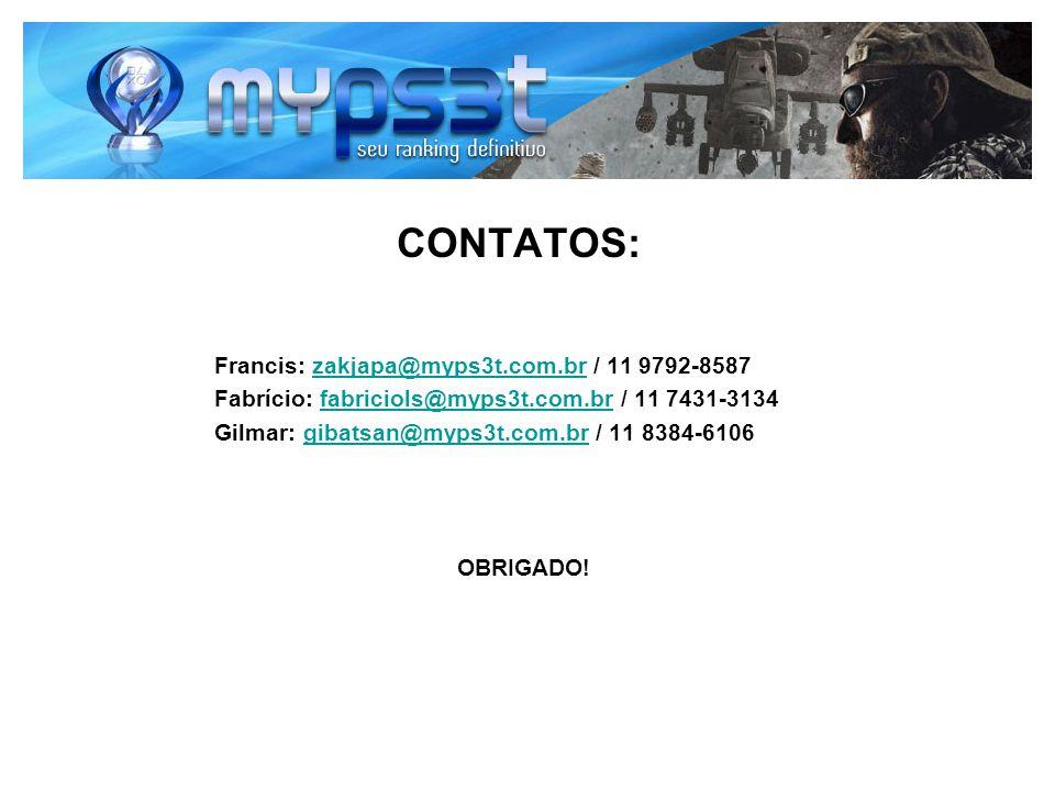 CONTATOS: Francis: zakjapa@myps3t.com.br / 11 9792-8587zakjapa@myps3t.com.br Fabrício: fabriciols@myps3t.com.br / 11 7431-3134fabriciols@myps3t.com.br