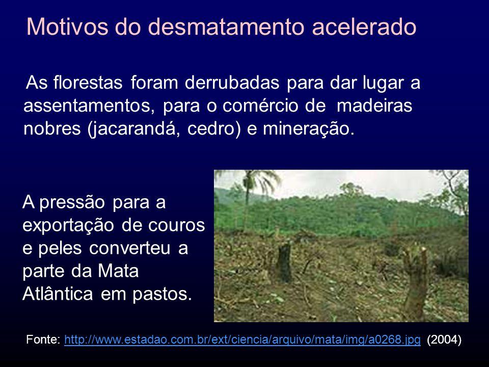As florestas foram derrubadas para dar lugar a assentamentos, para o comércio de madeiras nobres (jacarandá, cedro) e mineração.