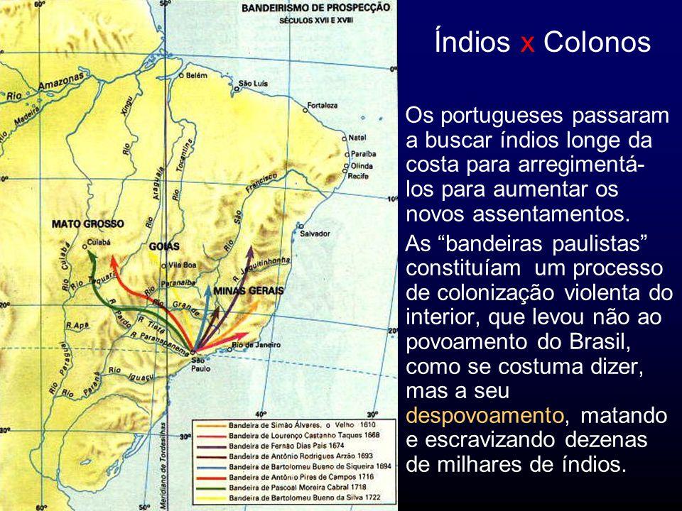 Índios x Colonos Os portugueses passaram a buscar índios longe da costa para arregimentá- los para aumentar os novos assentamentos.