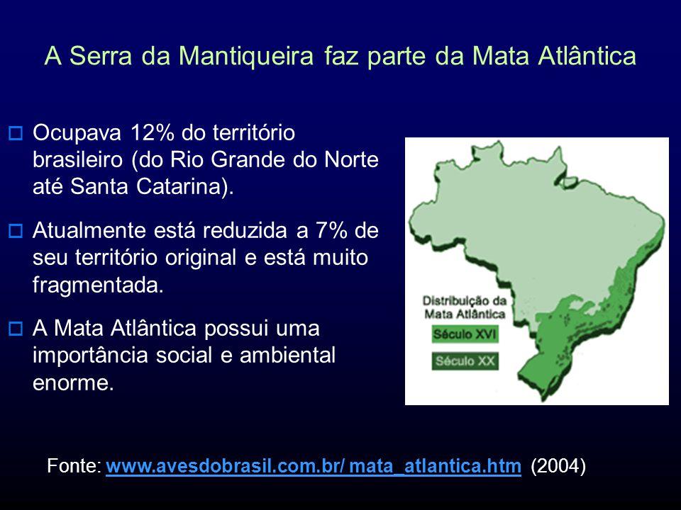 A Serra da Mantiqueira faz parte da Mata Atlântica Ocupava 12% do território brasileiro (do Rio Grande do Norte até Santa Catarina).