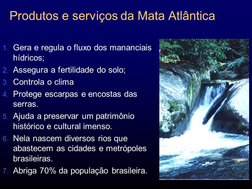 Produtos e serviços da Mata Atlântica 1.Gera e regula o fluxo dos mananciais hídricos; 2.