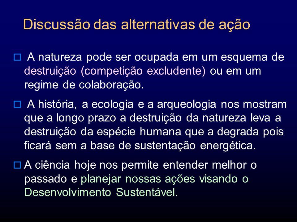 Discussão das alternativas de ação A natureza pode ser ocupada em um esquema de destruição (competição excludente) ou em um regime de colaboração.