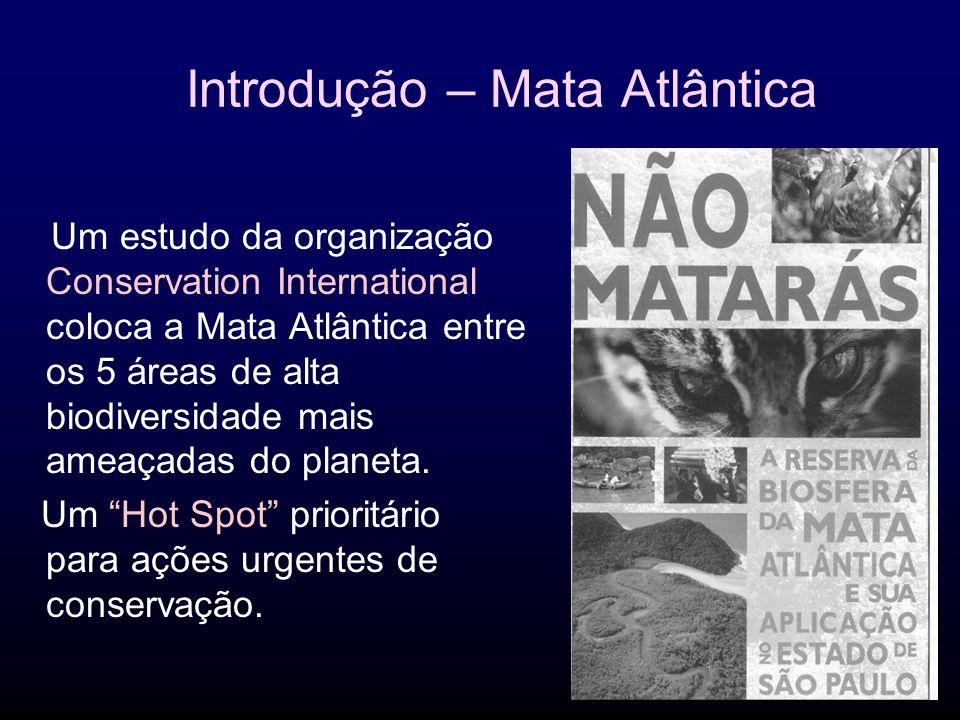 Introdução – Mata Atlântica Um estudo da organização Conservation International coloca a Mata Atlântica entre os 5 áreas de alta biodiversidade mais ameaçadas do planeta.