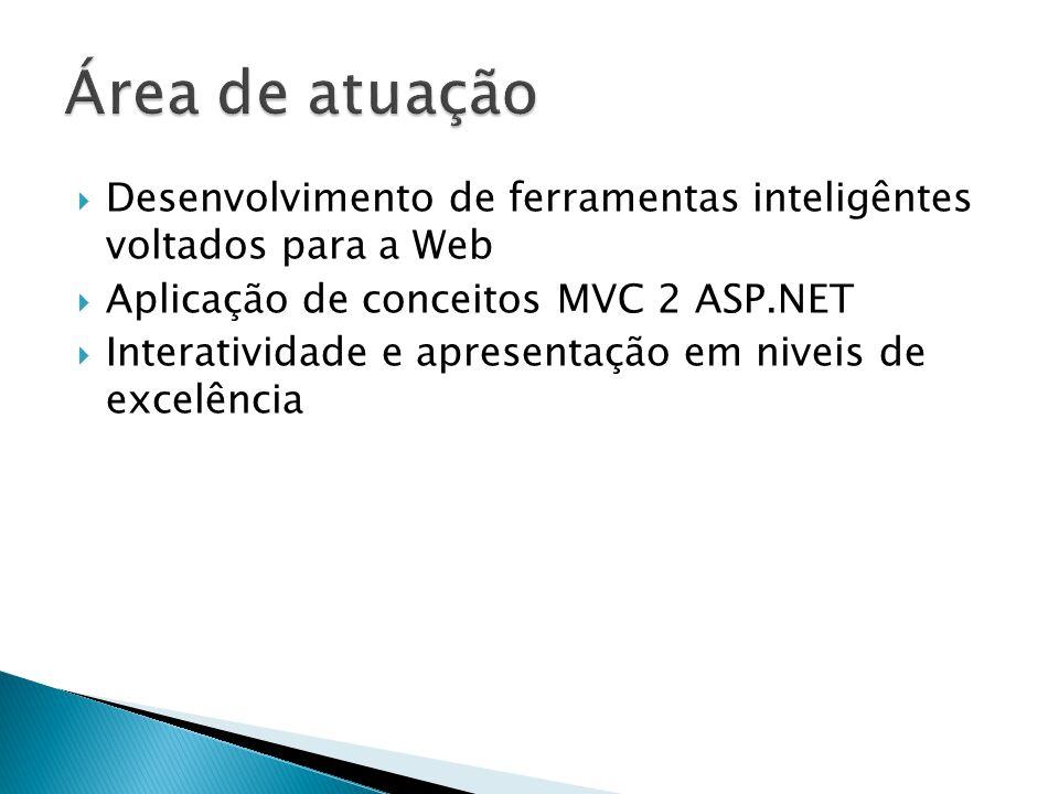 Desenvolvimento de ferramentas inteligêntes voltados para a Web Aplicação de conceitos MVC 2 ASP.NET Interatividade e apresentação em niveis de excelência