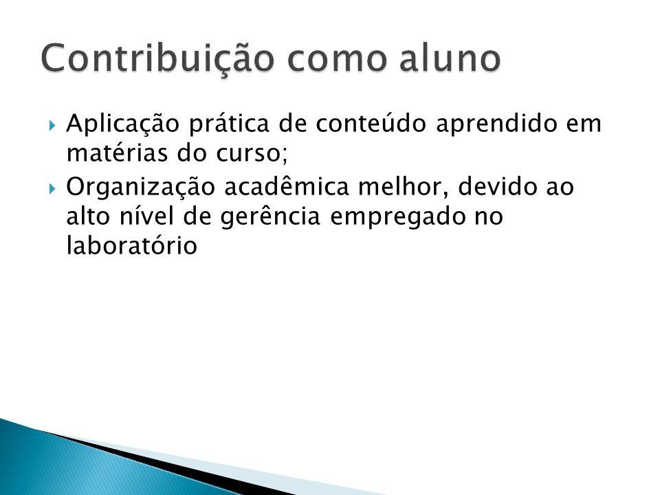 Aplicação prática de conteúdo aprendido em matérias do curso; Organização acadêmica melhor, devido ao alto nível de gerência empregado no laboratório