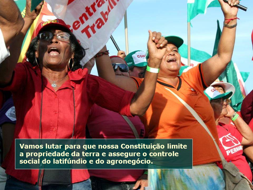 Vamos lutar para que nossa Constituição limite a propriedade da terra e assegure o controle social do latifúndio e do agronegócio.