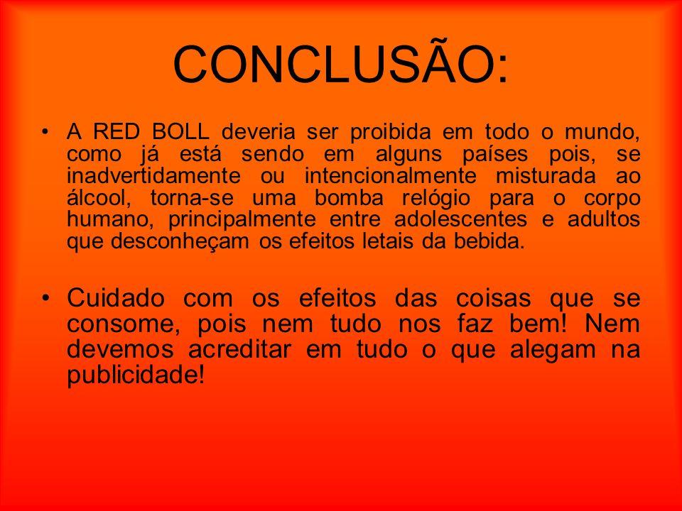 CONCLUSÃO: A RED BOLL deveria ser proibida em todo o mundo, como já está sendo em alguns países pois, se inadvertidamente ou intencionalmente misturad