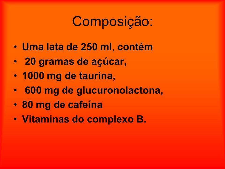 Composição: Uma lata de 250 ml, contém 20 gramas de açúcar, 1000 mg de taurina, 600 mg de glucuronolactona, 80 mg de cafeína Vitaminas do complexo B.