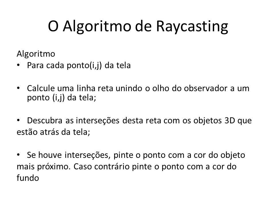 O Algoritmo de Raycasting Algoritmo Para cada ponto(i,j) da tela Calcule uma linha reta unindo o olho do observador a um ponto (i,j) da tela; Descubra as interseções desta reta com os objetos 3D que estão atrás da tela; Se houve interseções, pinte o ponto com a cor do objeto mais próximo.
