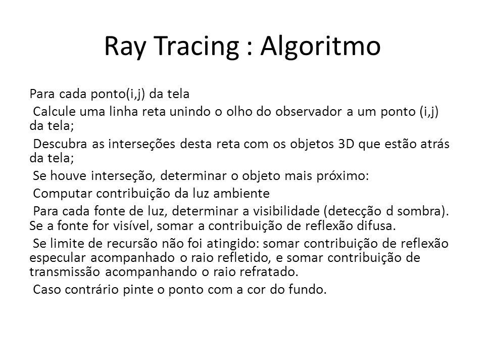 Ray Tracing : Algoritmo Para cada ponto(i,j) da tela Calcule uma linha reta unindo o olho do observador a um ponto (i,j) da tela; Descubra as interseç