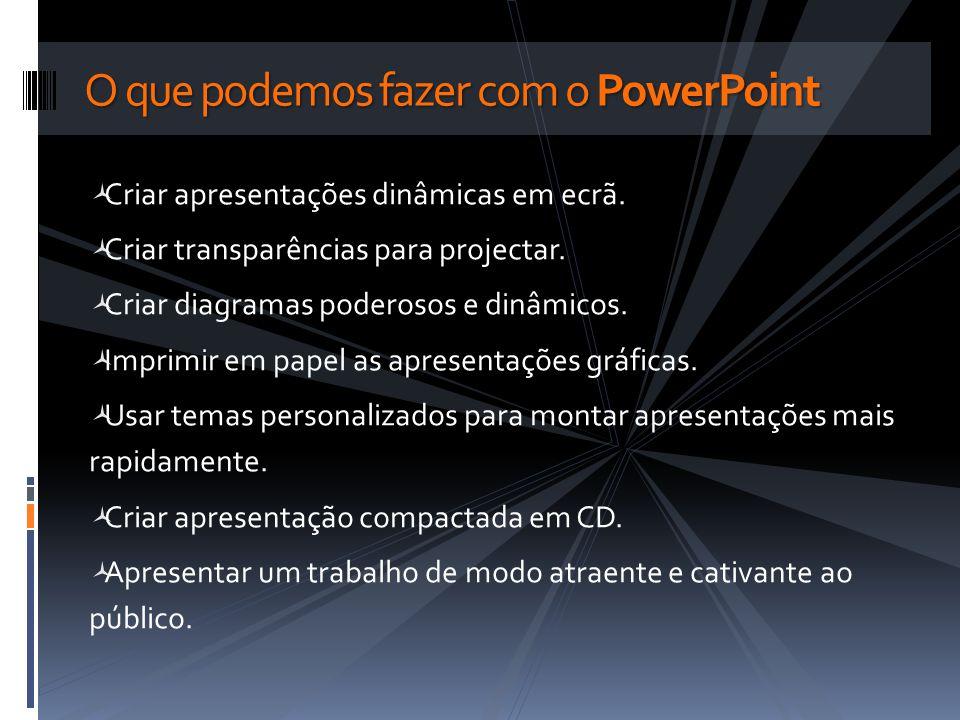 Criar apresentações dinâmicas em ecrã. Criar transparências para projectar. Criar diagramas poderosos e dinâmicos. Imprimir em papel as apresentações