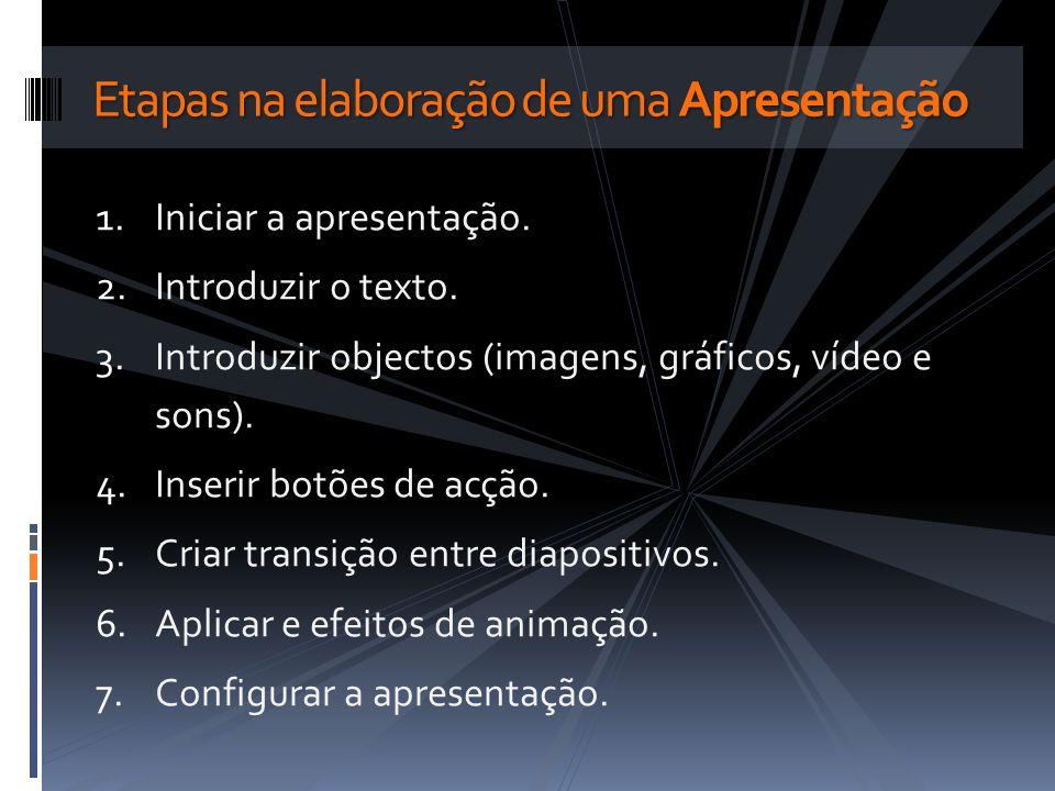 1.Iniciar a apresentação. 2.Introduzir o texto. 3.Introduzir objectos (imagens, gráficos, vídeo e sons). 4.Inserir botões de acção. 5.Criar transição