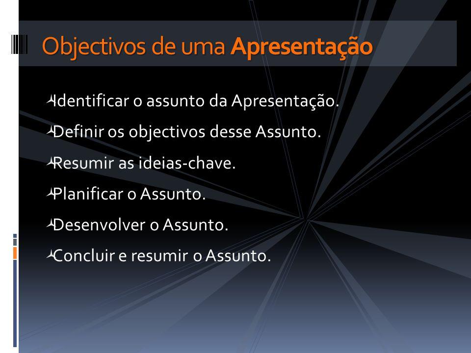 Identificar o assunto da Apresentação. Definir os objectivos desse Assunto. Resumir as ideias-chave. Planificar o Assunto. Desenvolver o Assunto. Conc