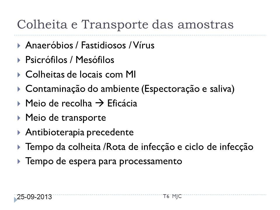 Colheita e Transporte das amostras 25-09-2013 T6 MJC Anaeróbios / Fastidiosos / Vírus Psicrófilos / Mesófilos Colheitas de locais com MI Contaminação