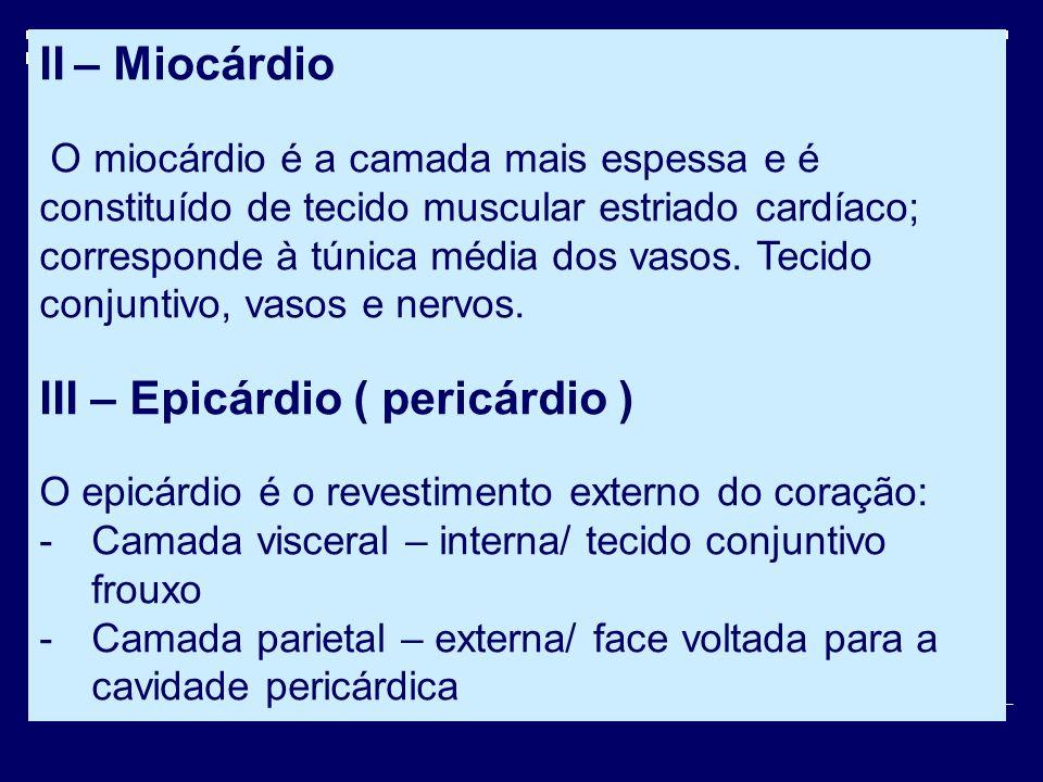 II – Miocárdio O miocárdio é a camada mais espessa e é constituído de tecido muscular estriado cardíaco; corresponde à túnica média dos vasos. Tecido