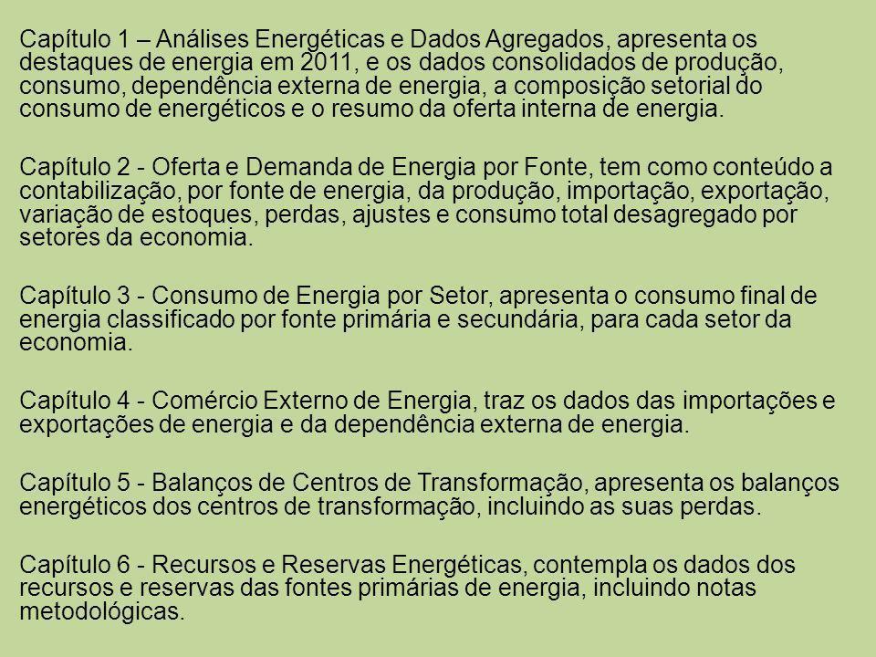 Capítulo 7 - Energia e Socioeconomia, tem por conteúdo a comparação dos parâmetros energéticos, econômicos e populacionais, os consumos específicos, os preços e os gastos com importação de petróleo.