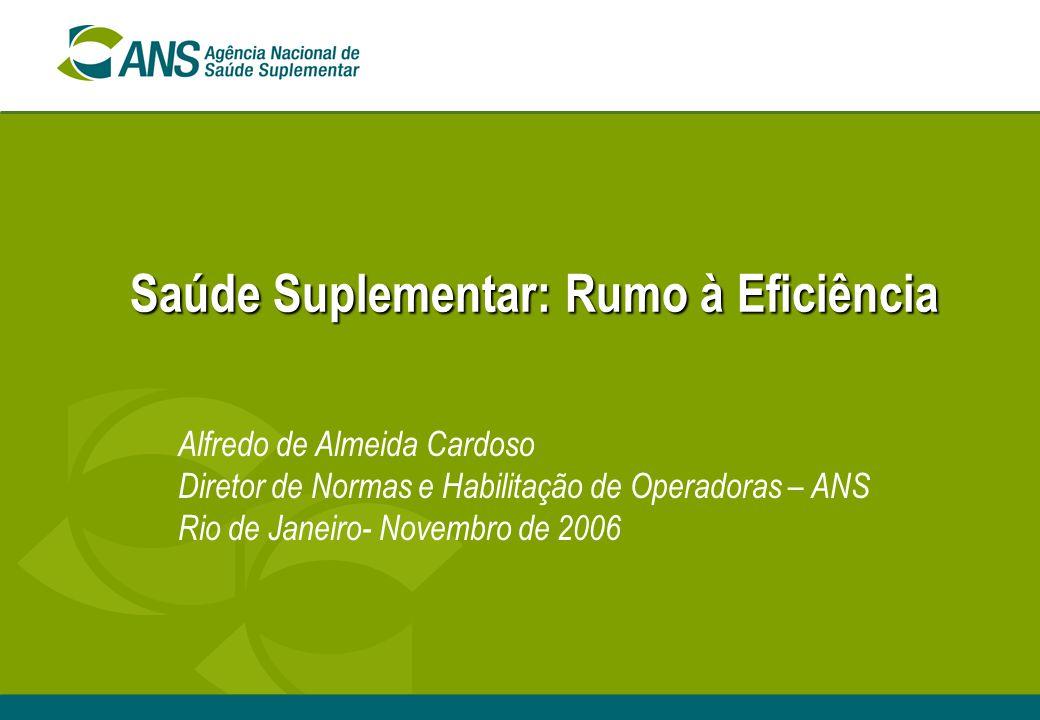 Saúde Suplementar: Rumo à Eficiência Alfredo de Almeida Cardoso Diretor de Normas e Habilitação de Operadoras – ANS Rio de Janeiro- Novembro de 2006