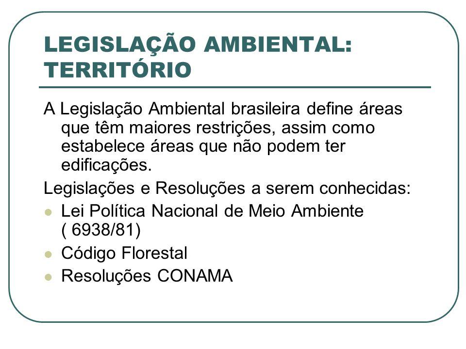 LEGISLAÇÃO AMBIENTAL: TERRITÓRIO A Legislação Ambiental brasileira define áreas que têm maiores restrições, assim como estabelece áreas que não podem