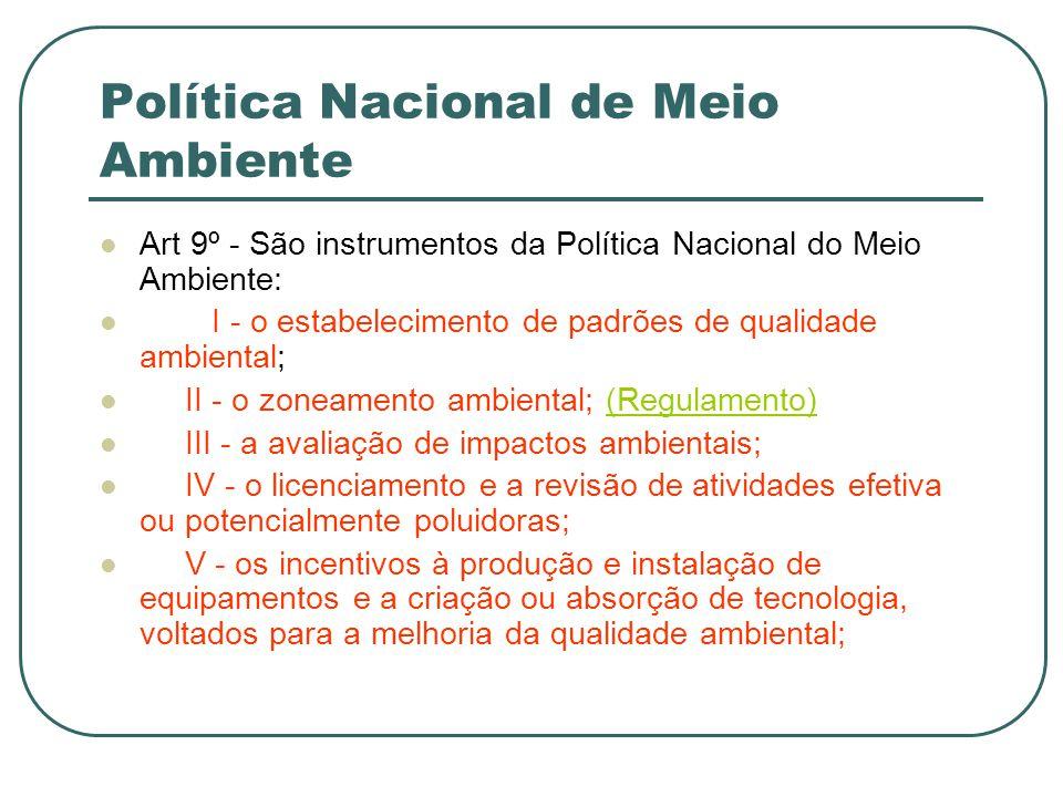 Política Nacional de Meio Ambiente Art 9º - São instrumentos da Política Nacional do Meio Ambiente: I - o estabelecimento de padrões de qualidade ambi