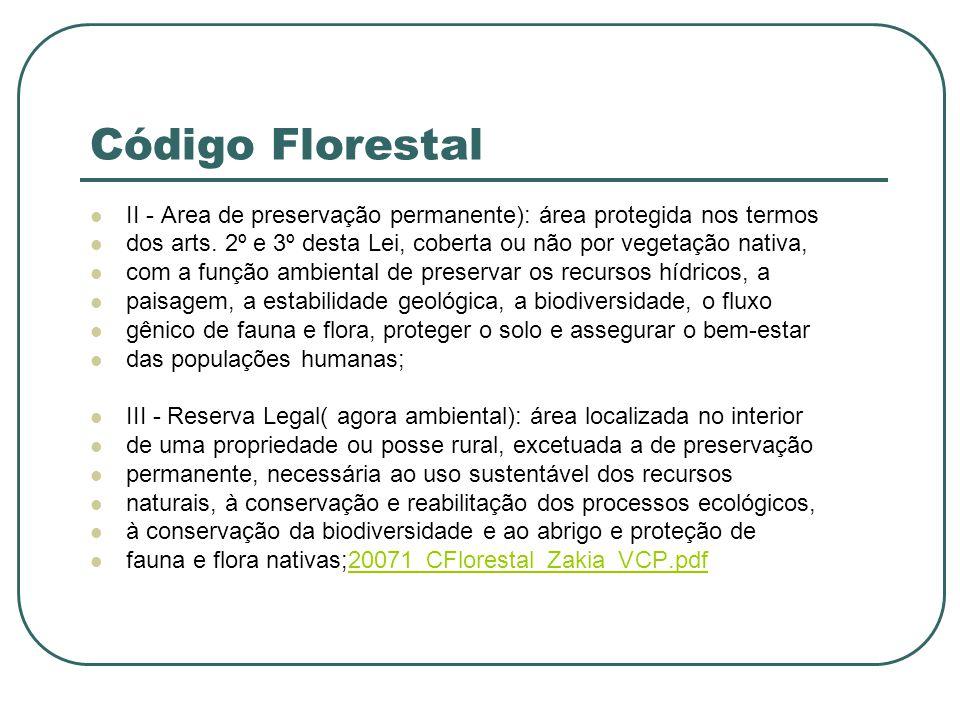 Código Florestal II - Area de preservação permanente): área protegida nos termos dos arts. 2º e 3º desta Lei, coberta ou não por vegetação nativa, com