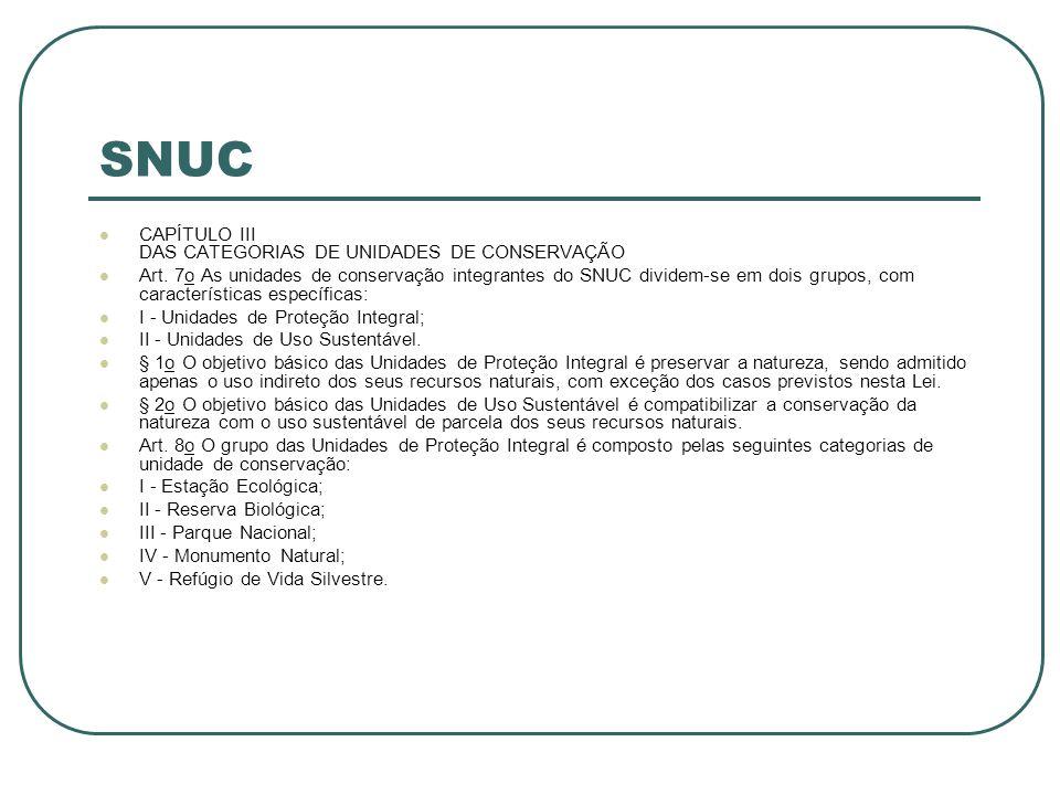 SNUC CAPÍTULO III DAS CATEGORIAS DE UNIDADES DE CONSERVAÇÃO Art. 7o As unidades de conservação integrantes do SNUC dividem-se em dois grupos, com cara