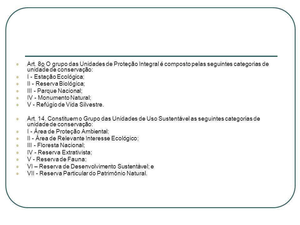 Art. 8o O grupo das Unidades de Proteção Integral é composto pelas seguintes categorias de unidade de conservação: I - Estação Ecológica; II - Reserva
