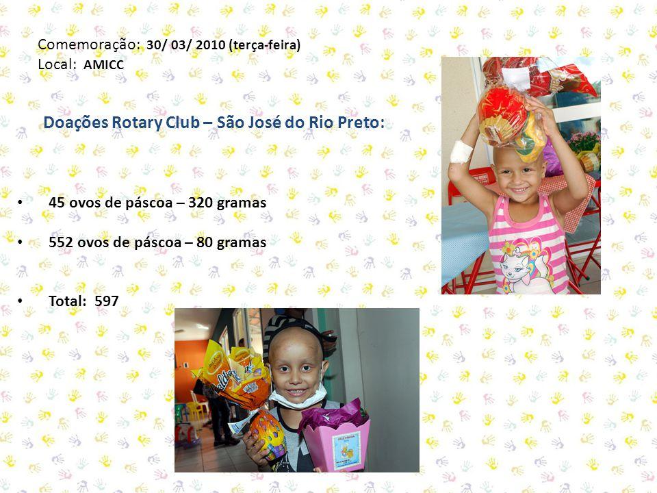 Doações Rotary Club – São José do Rio Preto: 45 ovos de páscoa – 320 gramas 552 ovos de páscoa – 80 gramas Total: 597 Comemoração: 30/ 03/ 2010 (terça-feira) Local: AMICC