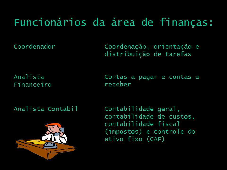 Funcionários da área de finanças: CoordenadorCoordenação, orientação e distribuição de tarefas Analista Financeiro Analista Contábil Contas a pagar e