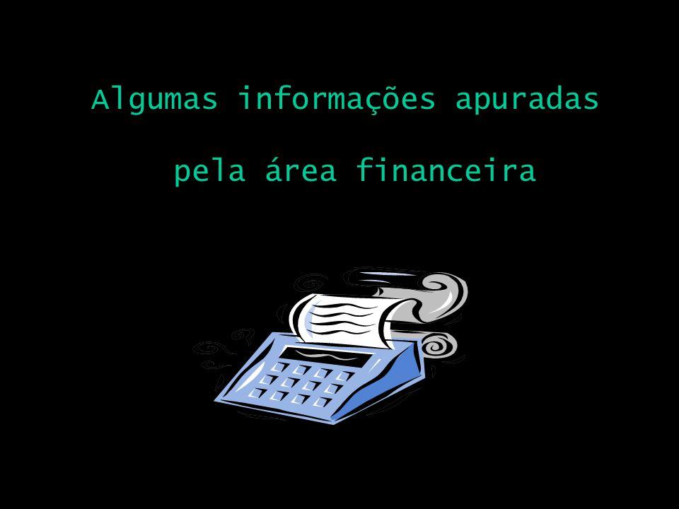 Algumas informações apuradas pela área financeira