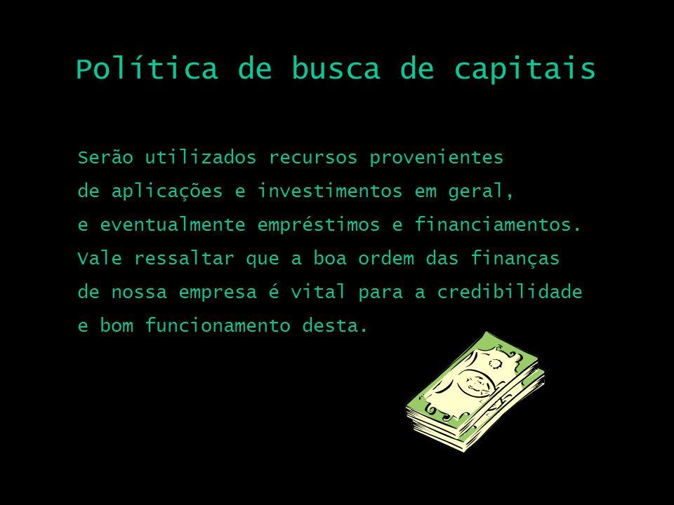 Política de busca de capitais Serão utilizados recursos provenientes de aplicações e investimentos em geral, e eventualmente empréstimos e financiamen
