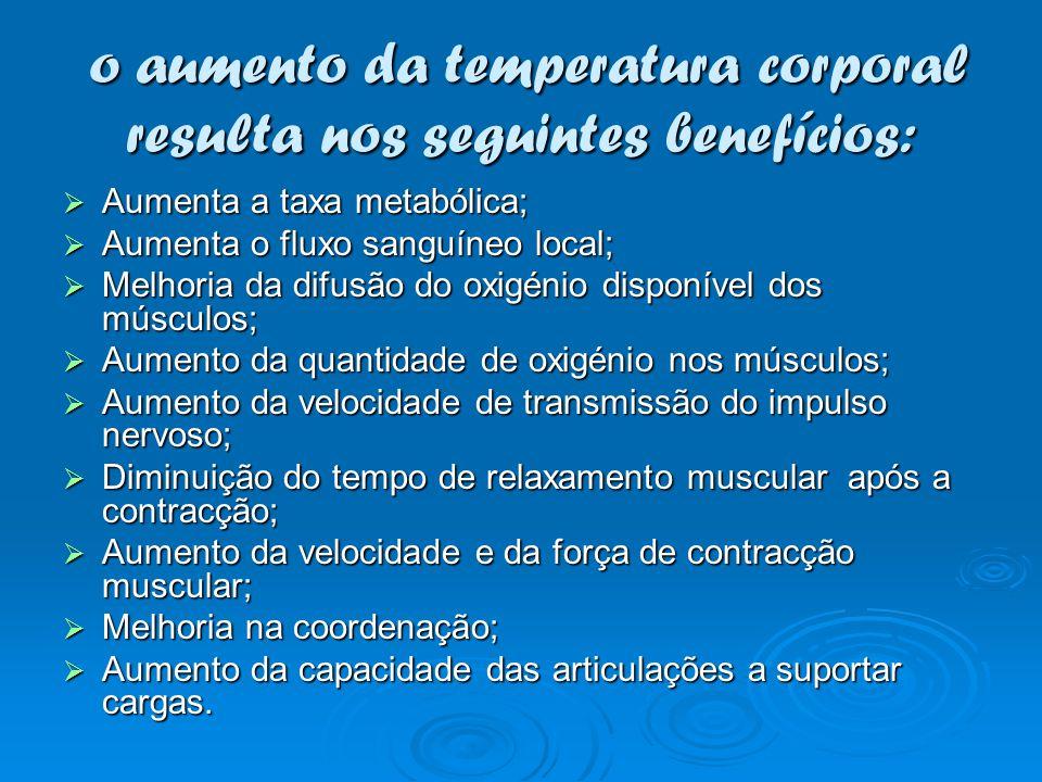 o aumento da temperatura corporal resulta nos seguintes benefícios: o aumento da temperatura corporal resulta nos seguintes benefícios: Aumenta a taxa