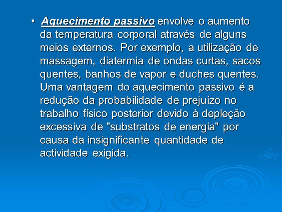 Aquecimento passivo envolve o aumento da temperatura corporal através de alguns meios externos. Por exemplo, a utilização de massagem, diatermia de on