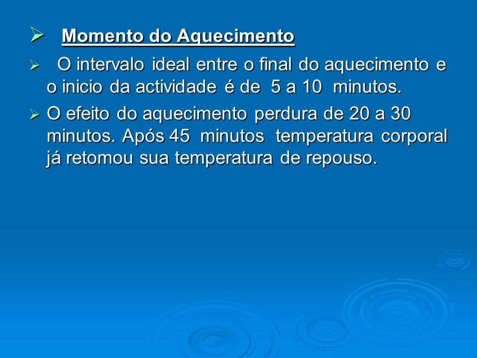 Momento do Aquecimento Momento do Aquecimento O intervalo ideal entre o final do aquecimento e o inicio da actividade é de 5 a 10 minutos. O intervalo