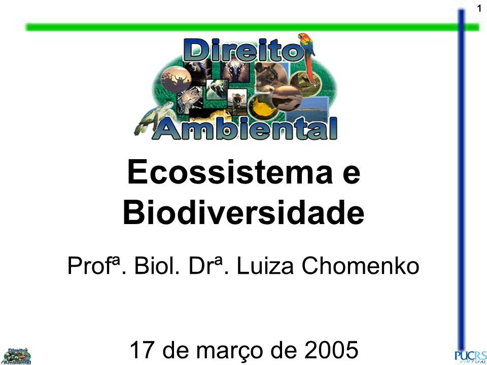 1 Ecossistema e Biodiversidade Profª. Biol. Drª. Luiza Chomenko 17 de março de 2005