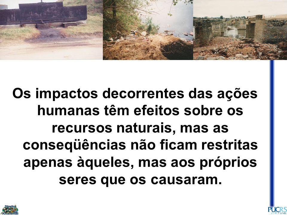 23 Os impactos decorrentes das ações humanas têm efeitos sobre os recursos naturais, mas as conseqüências não ficam restritas apenas àqueles, mas aos