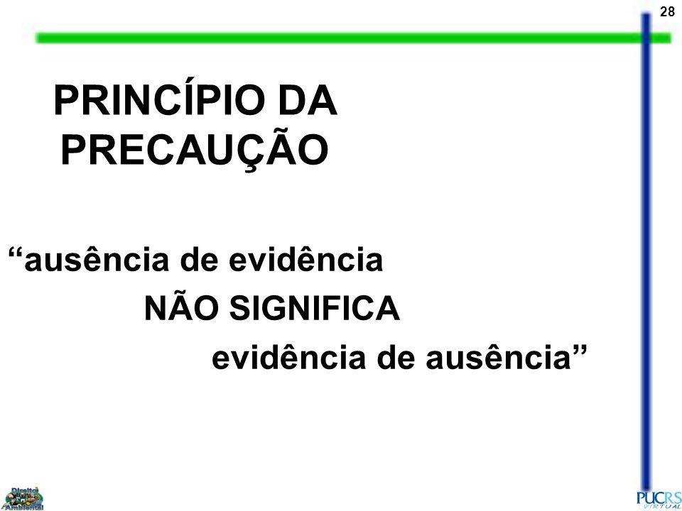 28 PRINCÍPIO DA PRECAUÇÃO ausência de evidência NÃO SIGNIFICA evidência de ausência