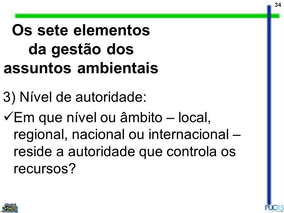 34 3) Nível de autoridade: Em que nível ou âmbito – local, regional, nacional ou internacional – reside a autoridade que controla os recursos? Os sete